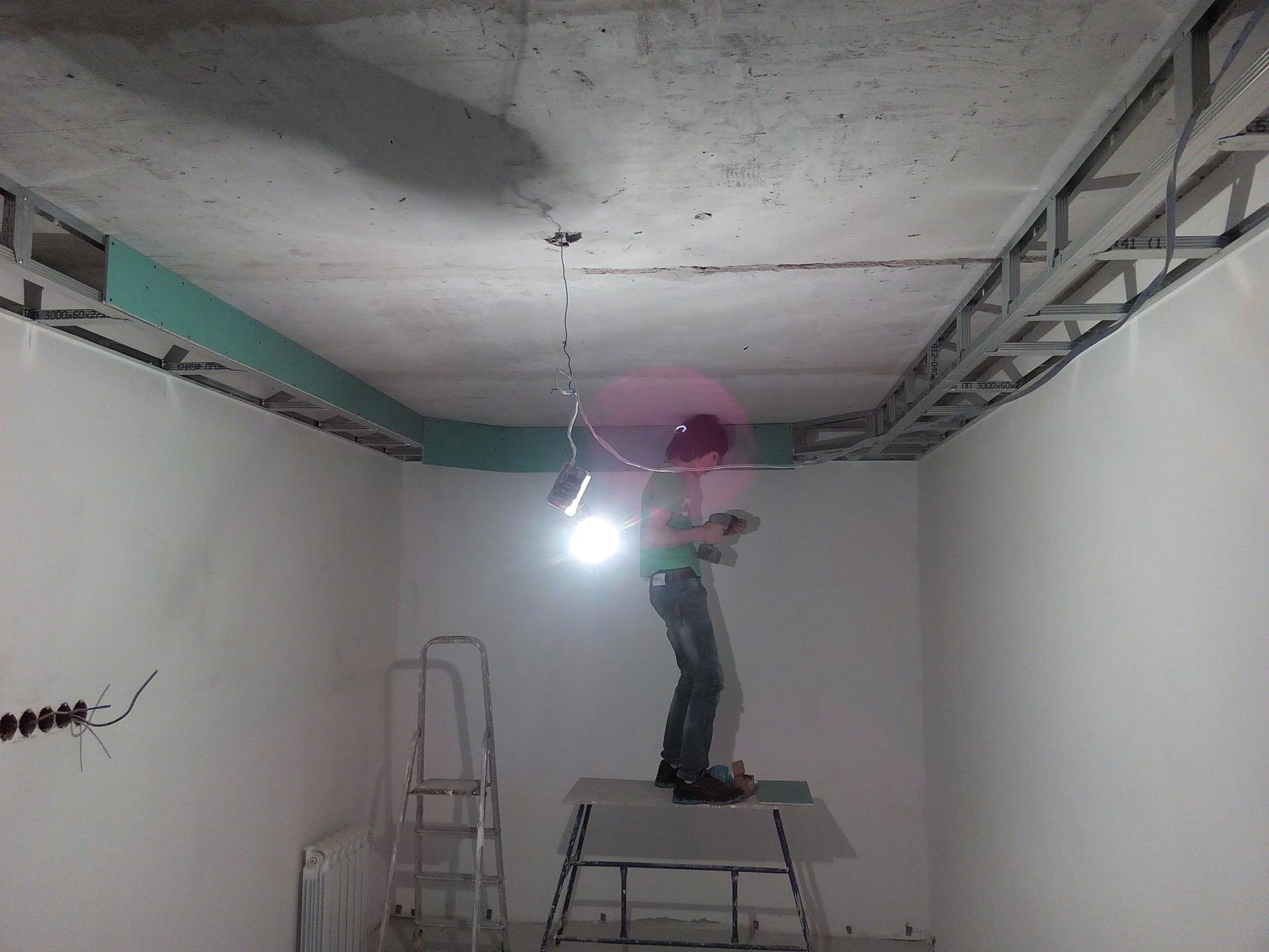 монтаж потолка из гкл